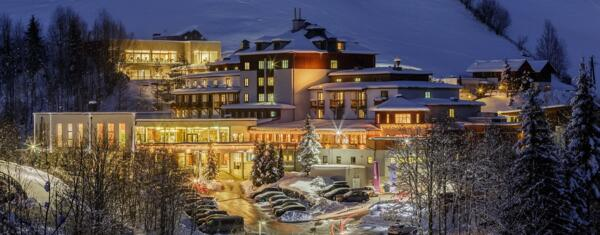 Sporthotel Wagrain in Austria at night in winter