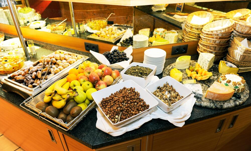 fresh Fruits and Cheese buffet in the Sporthotel Wagrain